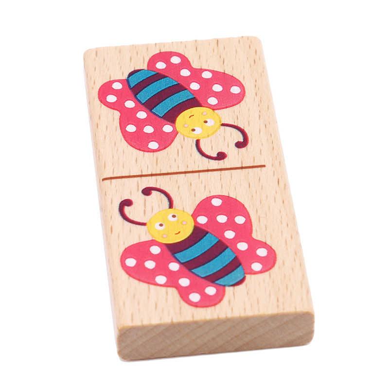 Nieuwe Houten Cartoon Fruit Dier Herkennen Blokken Domino Puzzel Montessori Kinderen Leren & Onderwijs Puzzel Speelgoed