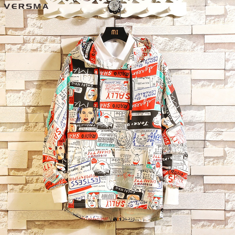 VERSMA 2019 Spring Hip Hop Streetwear Graffiti Printed Hoodies Sweatshirts  Men Korean Harajuku BF Oversized Hoodie 76b852b65