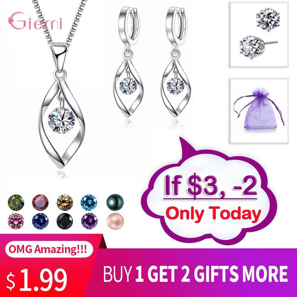 "Big Discount Fashion Pearl Jewelry Set Cubic Zirconia Pearl Colors Necklace 18"" Earrings 925 Sterling Silver Jewelry Sets Women"