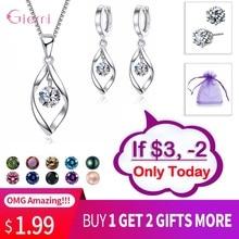 цена на New Trendy Jewelry Set 925 Sterling Silver Cubic Zirconia Pearl Handmade Rotation of Love Women Drop Earrings Pendant Necklace