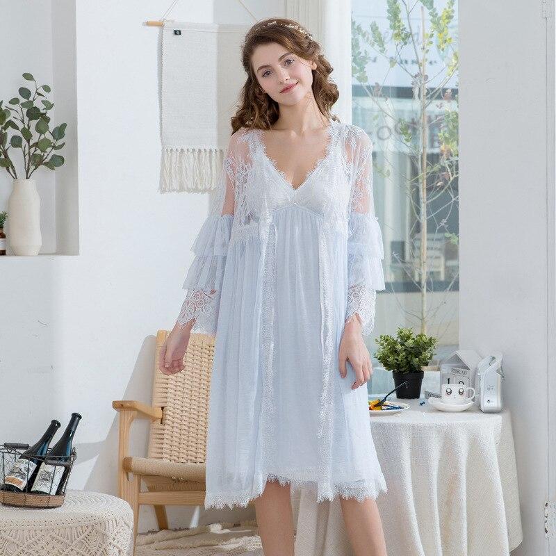 2019 femmes dentelle gaze rayonne femme dentelle Robe peignoir femmes Robes de nuit dames confort Robe pour femmes deux pièces chemise de nuit - 3