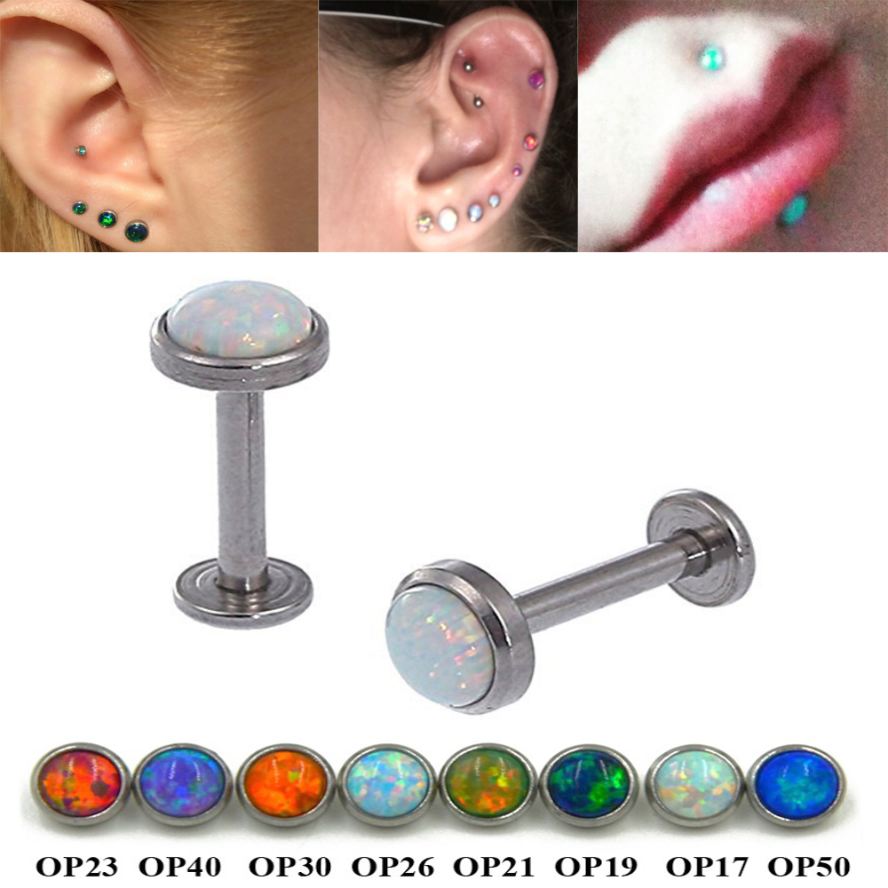 Showlove1pc 16g Surgical Steel Opal Gem Labret Lip Rings Ear Helix Tragus Cartilage  Studs Piercing Body Jewelry