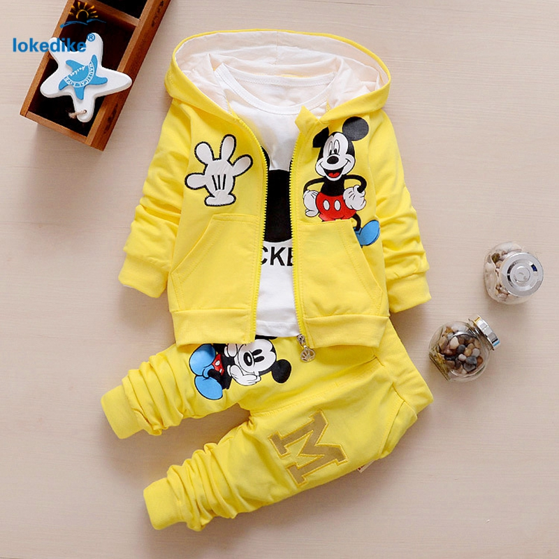 2017 New Children Kids Boys Clothing Set Autumn Winter 3 Piece Sets Hooded Coat Suits Fall Cotton Baby Boys Clothes mouse T657