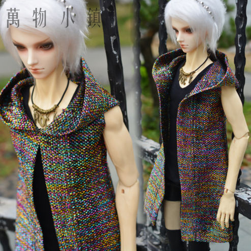 NEW 1/3 1/4 SD MSD PULLIP BJD Doll Clothes Colorful Weave Hooded Leisure Cardigan/Shirt handsome grey woolen coat belt for bjd 1 3 sd10 sd13 sd17 uncle ssdf sd luts dod dz as doll clothes cmb107