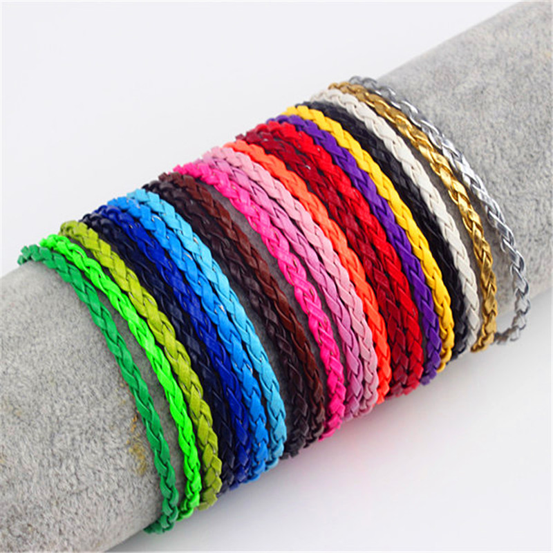 3mm Round Braided Pu Leather Bracelets & Bangles Mens Simple Style Bayonet Buckle Leather Charm Bracelet For Women