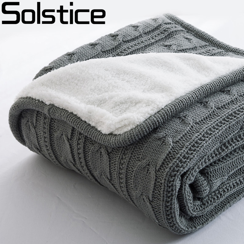 2017 Hot 100% Cotton High quality Sheep velvet Blankets Winter warmth Knitted wool blanket Sofa/Bed cover quilt Knitted blanket