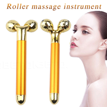 Anti Aging Face Neck Fat Burn Wrinkle Removal Face Lifting Skin Tightening 24K Gold Plated 3D Roller Massager Energy Beauty Bar