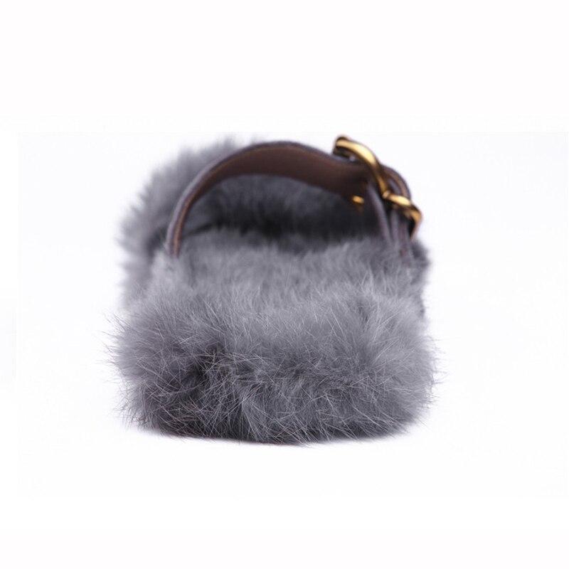 In Coniglio grigio Peep Slingback Caldo Pantofole Fuori Fashion Scarpe Big Appartamenti Sandali L81 Marca Di Fibbia Size Metallo Primavera Toe Nude Pelliccia Tenere BCpCwqY