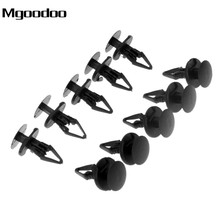 Mgoodoo 50Pcs Car Fender Fastener Black Push Type Rivet Auto Fixed Clamp 6.3mm Hole Size Back