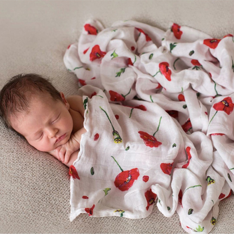 PINK SWAN 100% Organic Cotton Rose Red Muslin Baby Blankets Bedding Infant Swaddle Towel For Newborns Swaddle Blanket Baby Wrap