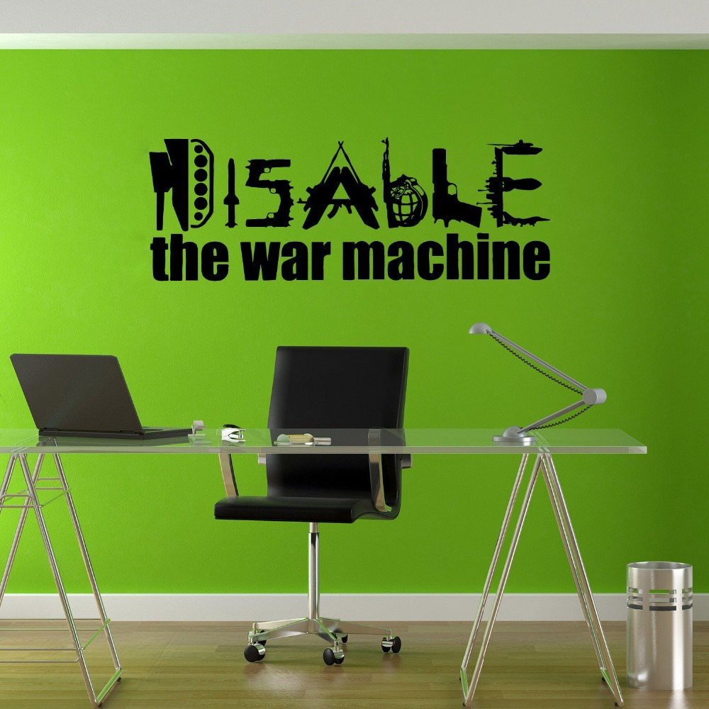 Stickers Wall Art Wall Decals Home Decor Wall Stickers Decor Sticker Art Prints Disable War Machine Love Joy Hippie T490
