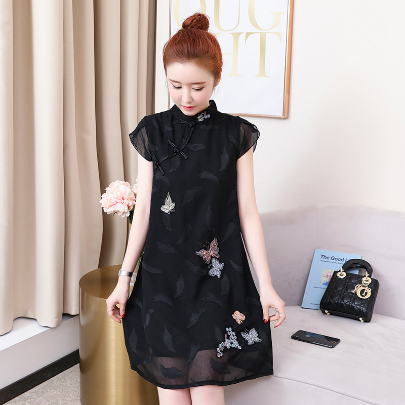 2019 Modern Chinese Dress Cheongsam Qipao Cheongsam Modern For Women Vintage Embroidery Flower Women Chiffon Lace
