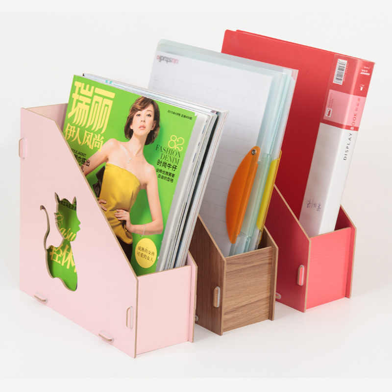 a4 Detachable wooden office desktop file book magazine stand rack holder table document filing box organizer bookends