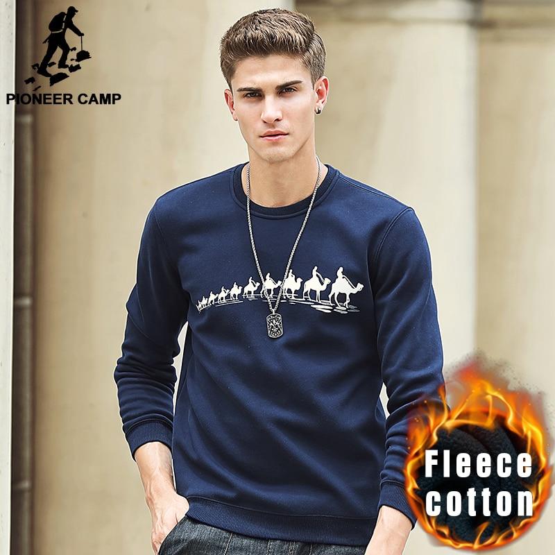 Pioneer Camp Automne Hiver Polaire Imprimé hiver T shirt hommes marque vêtements Mode Mâle épais T chemise qualité T-shirt 305114