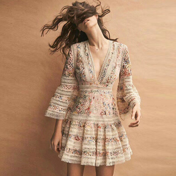 High Quality Haute Couture Runway Designer Mesh Pink Floral dress Horn Sleeve Deep V Dresses Hollow Embroidery Holiday Dress