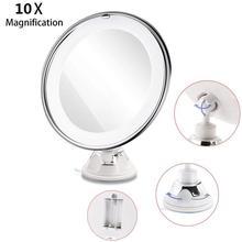 8 Polegada 10x ampliação led tabletop redonda maquiagem espelho cosmético com otário (branco)