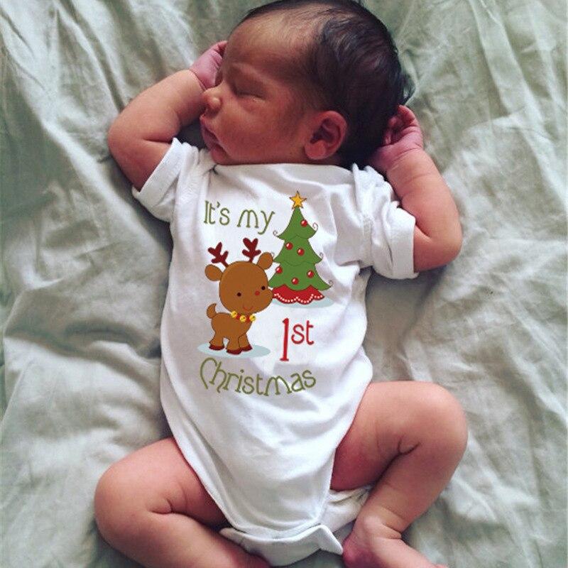 Hot sale Cotton Deer My 1st Christmas Newborn Baby Boy Girls One Piece  Bodysuit Jumpsuit Outfit Clothes DS19 de3d3d188c4f