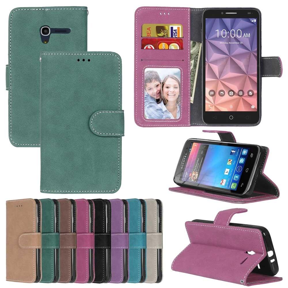 Mat Étui En Cuir Pour Alcatel One Touch Pop 3 5015D 5.0 Rétro cas de Téléphone Flip Cas de Couverture pour alcatel Pop 3 (5) cas De Luxe
