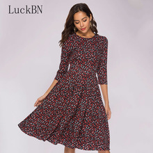 Autumn Women Vintage Print Dress Elegant Party O-neck A Line Slim Midi Dress Fashion 3/4 Sleeve Floral Dresses Female Vestidos brand autumn vintage print dress women elegant party o neck a line floral dress fashion long sleeve maxi dresses female vestidos