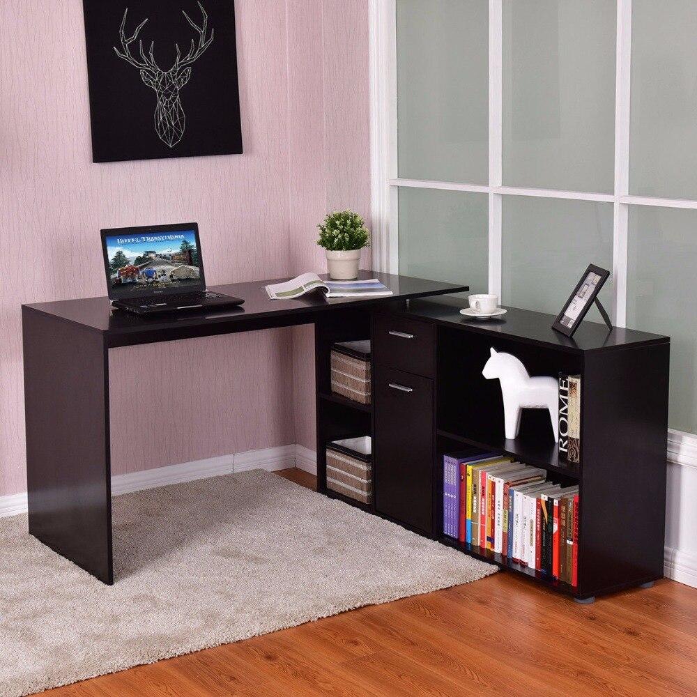 Goplus Rotating L-Shape Computer Desk Corner PC Laptop Table Writing Study Workstation Modern Office Home Desk HW56377