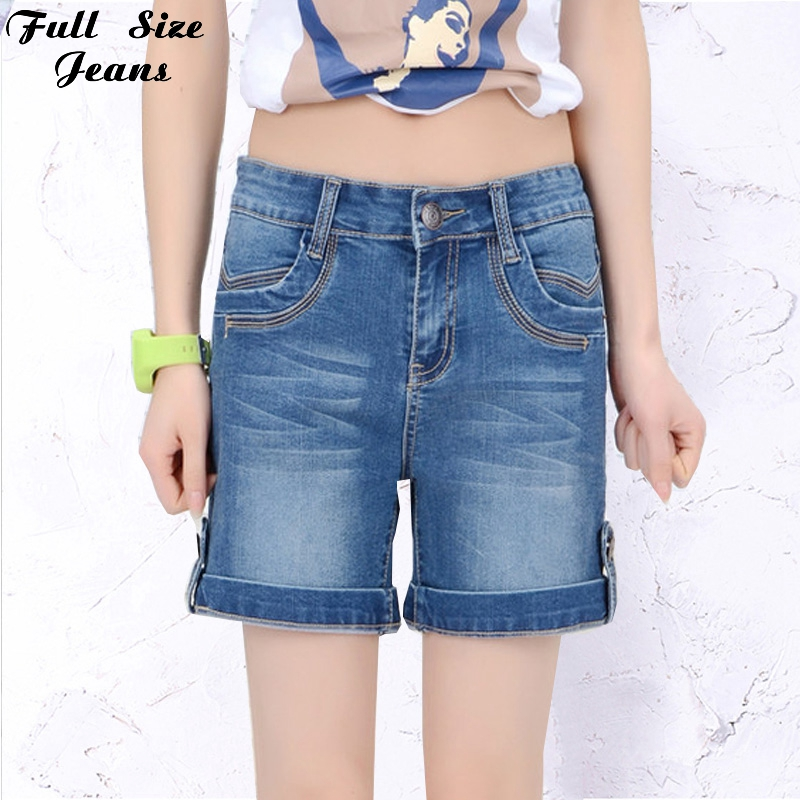 2016 Summer Plus Size Cuffed Jean Shorts Oversized Stretch Denim Blue Casual Fit Short Jeans 4XL 5XL 6XL 7XL 22 24