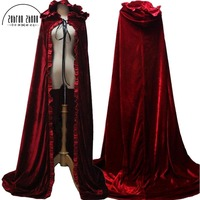 2019 Newest Red Cloak Hood Long Red Cloak For Adult Winter Princess Snow White Belle Aurora Princess Cosplay Cloak Halloween