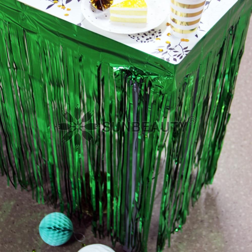 1pc Metallic Fringe Ouropel Folha Tabela Saia para o Verão Luau Cactus Decoração de Mesa de Festa de Aniversário do aniversário Da Selva