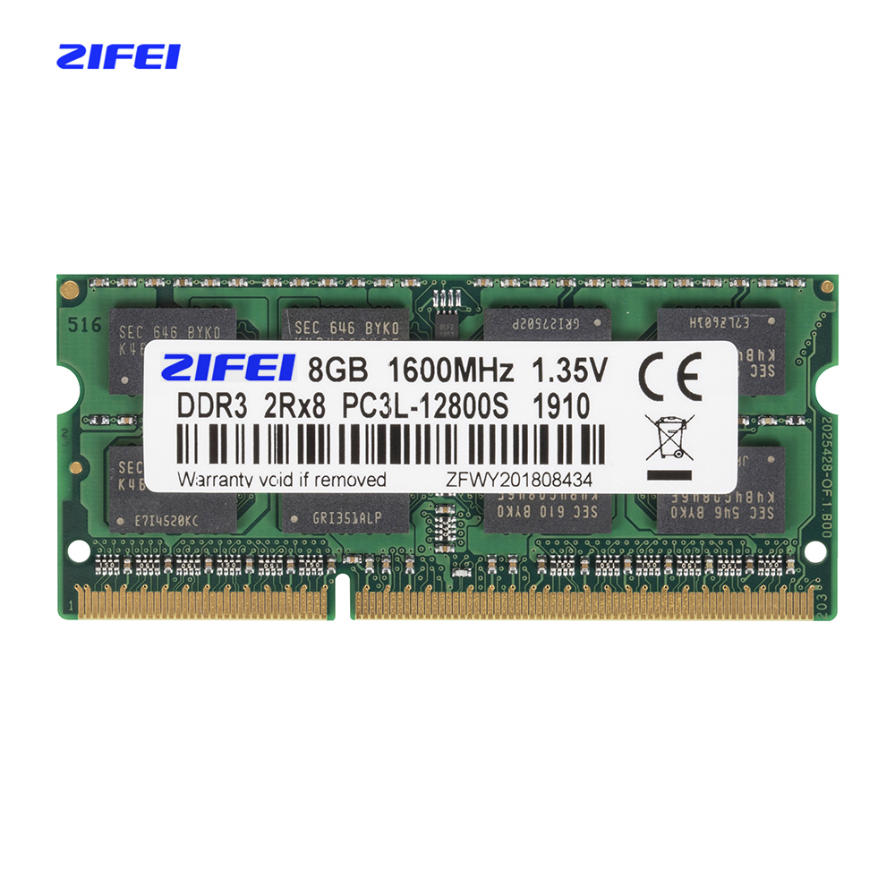 wholesale 50pcs ZIFEI DDR3L 8GB 1866 1600 1333 MHZ 1.35V Dual module 16 chips Laptop sdram so dimm Memory ram