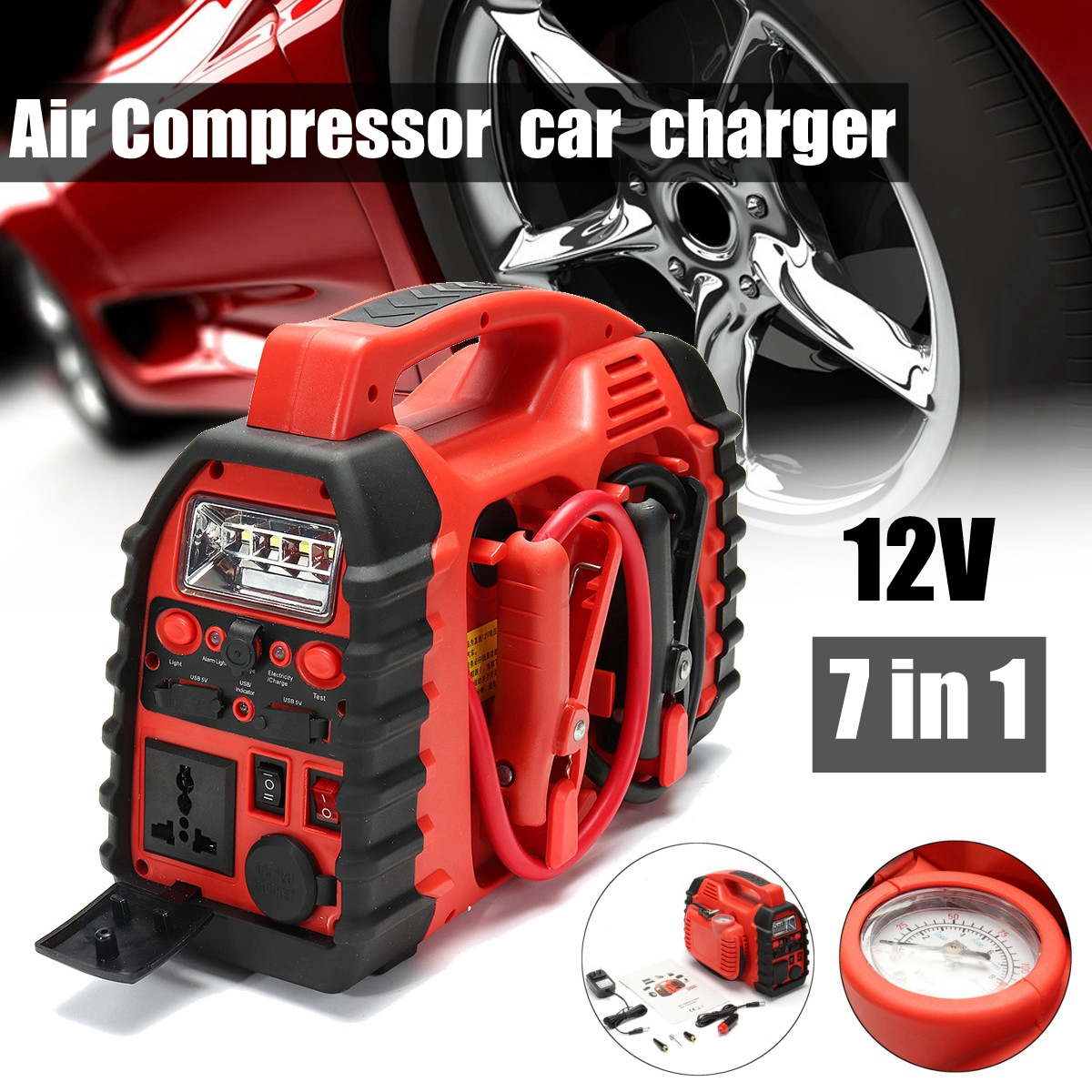 7 In 1/ 6 In 1 12V Multifunation Air Compressor Air Compressor Car Charger Battery Jump Starter Portable Boost hammer starter refrigerator freezer compressor starter 1 2hp 1 3hp 1 4hp 1 5hp 1 6hp or with capacitor pin
