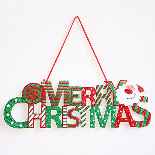 Merry Christmas Glitter Door Hanger Christmas Tree Ornament Signs