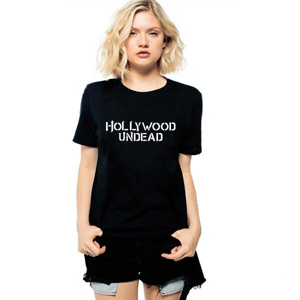 ХИП-ХОП Музыка Группы Hollywood Undead Футболки 2016 Лето Женщины Надписи Печати Футболки Хабар Harajuku Женщин Напечатаны Футболки