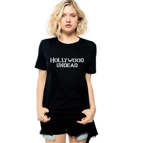 HIPHOP Música Banda Hollywood Undead Camisetas 2016 Verão Mulheres Imprimir Letras T-shirt Dos Ganhos Harajuku Feminino Impresso Tshirt