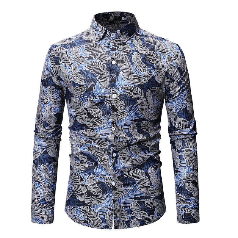 Fashion trend 2019 spring new casual shirt men's long sleeve pattern beach Hawaiian shirt Casual Shirts