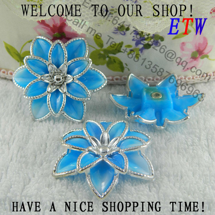 Free shipping 44mm Large Plastic Flower Blue Color 50 pcs/lot Fashion Accessory For Hair Shoes Bag Wholesale and retail