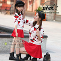 2016 Spring Autumn Family Matching Outfits Cute Clothing Sets Mother And Daughter Clothes Hoody + Skirt Mommy Girls Dresses