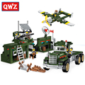 QWZ 687PCS Building Blocks Set Military Base Mobile Combat Vehicle Aircraft Model Educational Assembled Bricks Kids Toys Gifts