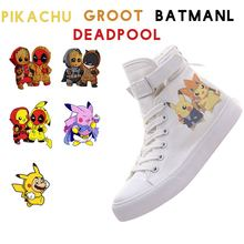 Pikachu quente Herói Deadpool Groot Batman Mulheres High Top Double-Layer Sapatos Tênis de Lona Com VelcroShoelace A19516(China)