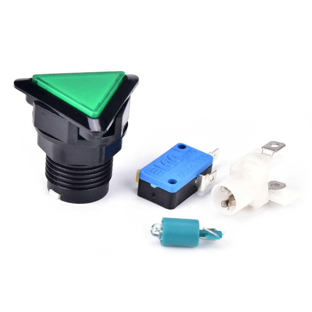 12V Tam Giác LED Arcade Nút Nhấn Có Microswitch Vòng Tròn Đen Chiếu Sáng 5 Màu