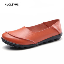 2018 New Women Shoes Flats Moccasins Loafers Genuine Leather Oxford Mother Girls Fashion Casual Shoes Driving Shoes Size 35-44 цена 2017