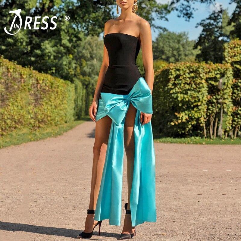 INDRESSME 2019 New Women Fashion Strapless Bow Sexy Sleeveless Elegant Bandage Dress Party Club Backless Dress