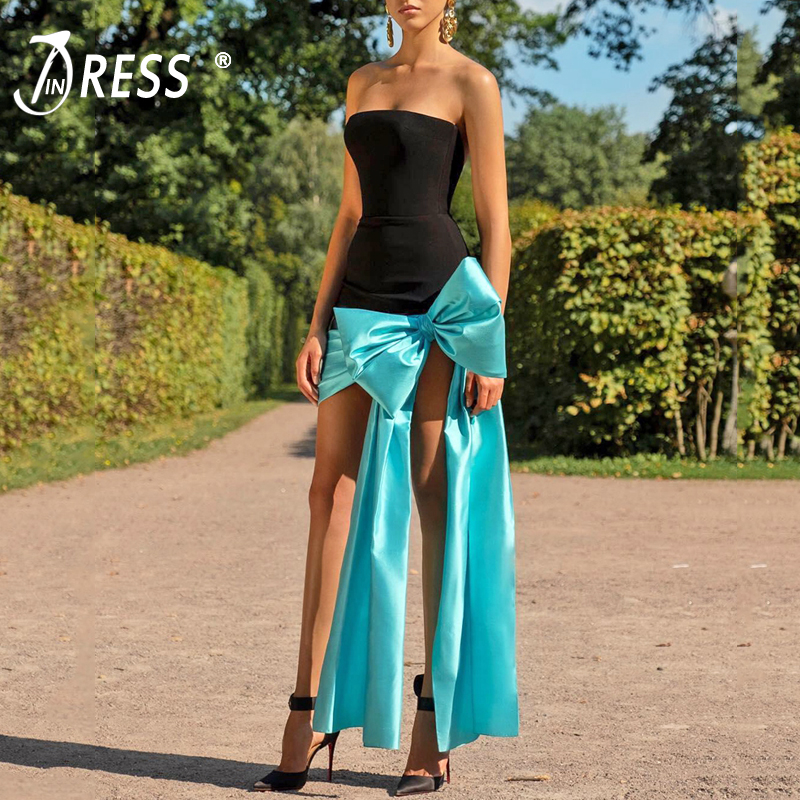 INDRESSME 2019 New Women Fashion Strapless Bow Sexy Sleeveless Elegant Bandage Dress Party Club Backless Dress Ins Hot in Dresses from Women 39 s Clothing
