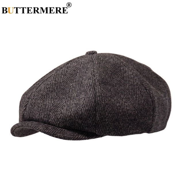 4f4c3dab8a3 BUTTERMERE Newsboys Beret Herringbone Men Flat Caps Wool Casual Winter  Plaid Female England Style Classic Octagonal Hats And Cap