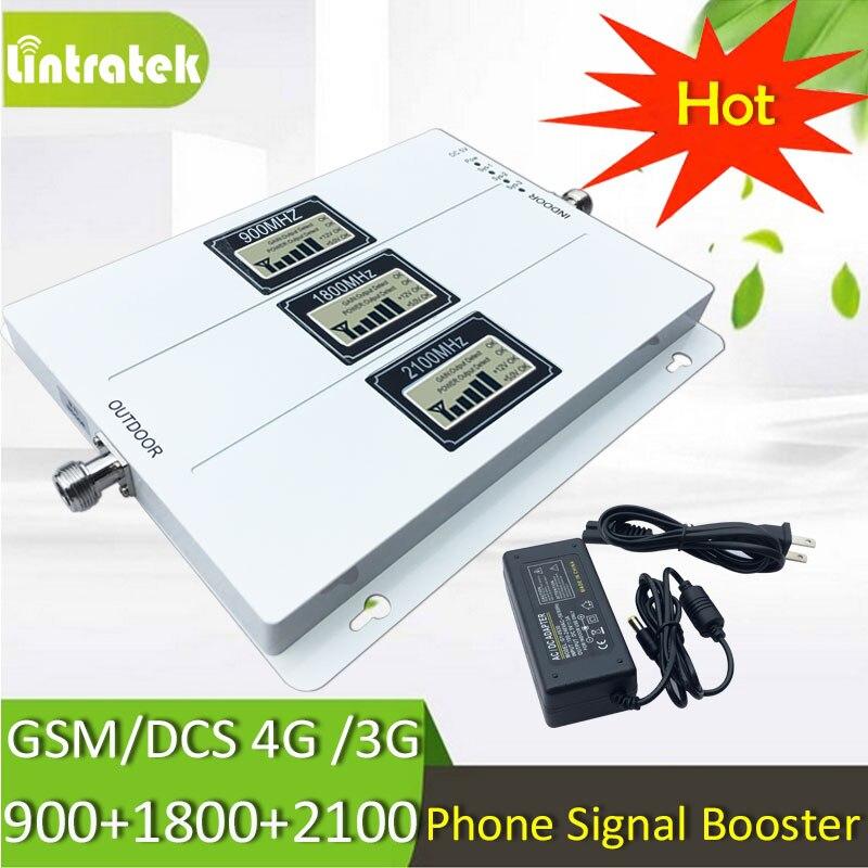 Lintratek Tri banda repetidor de celular GSM 900 UMTS 2100 4G 1800 de amplificador de señal móvil 70dB ganar 2G 3G 4G amplificador con AGC