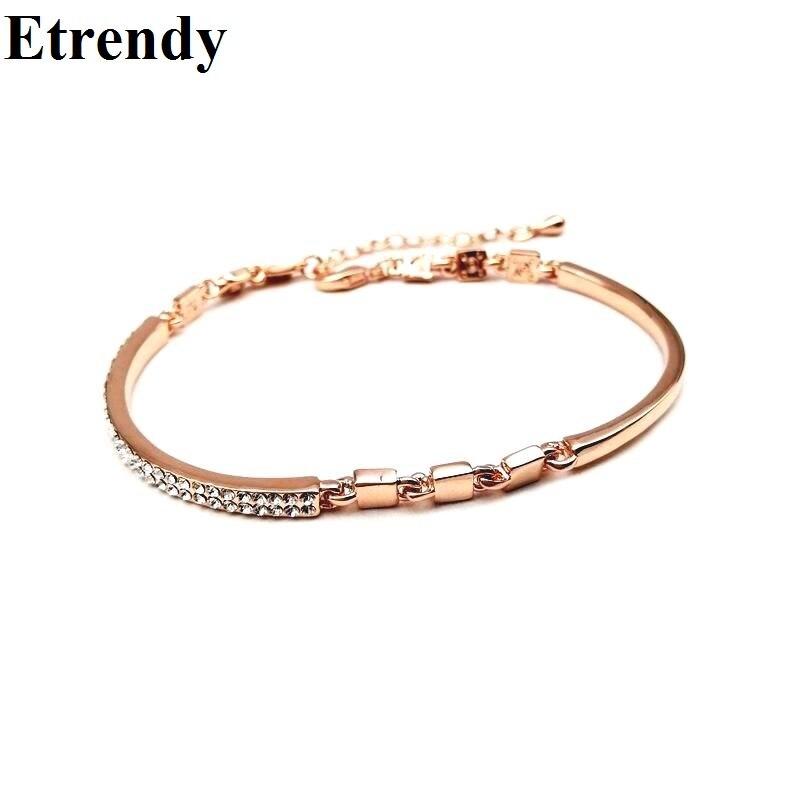 New delicate crystal rose gold-color bracelet women bijoux f