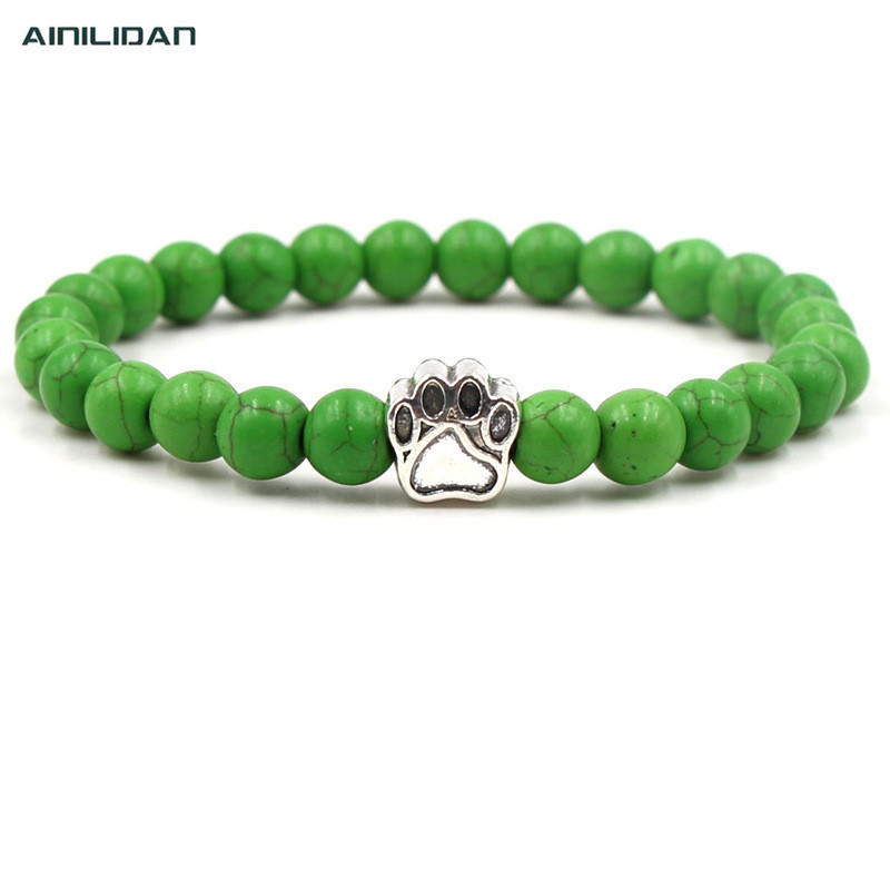 AINILIDAN Fashion Black Lava Green Stones Beaded <font><b>Bracelets</b></font> Vintage Alloy <font><b>Dog</b></font> Feet Elastic <font><b>Bracelet</b></font> Bangles <font><b>Unisex</b></font> Accessories image