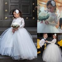 New 2015 Lovely Cute Lace Applique High Neck Long Sleeves Tulle Ball Gown Princess Flower Girl Dresses For Weddings child fanny
