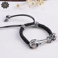 100% 925 Silver Skull Bracelet Thai 925 Silver Skeleton Beaded Bracelet Vintage Silver Eagle Skull Braided Man Bracelet
