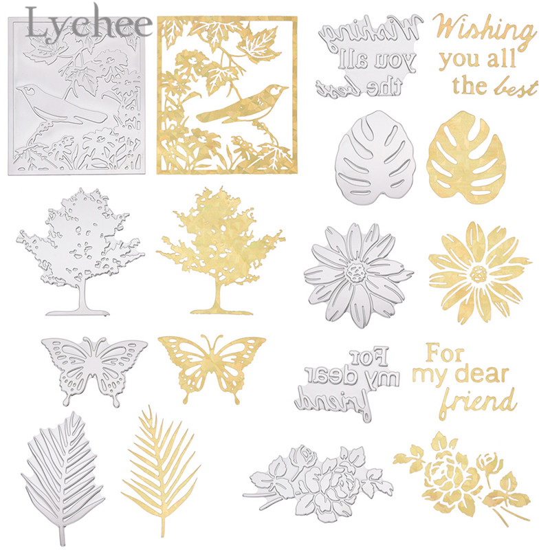 Lychee Leaves Butterfly Tree Hot Stamping Foil Dies Creative Cutting Dies DIY Scrapbooking Album Decoration Crafts