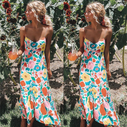 9e34ca2a581 Womens Summer Boho Long Maxi Evening Party Floral Dress Beach Suspender Dress  Sundress Female