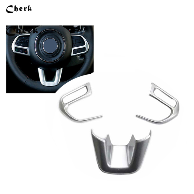 3pcs For Jeep Compass 2017 2018 ABS Chrome Car Styling ABS Steering Wheel U Frame Cover Decoration Trim Accessories